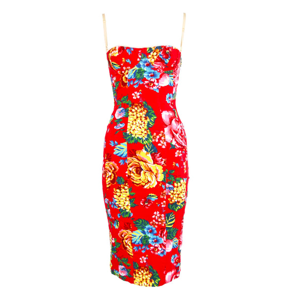 Vintage Dolce & Gabbana Red Floral Stretch Denim Dress