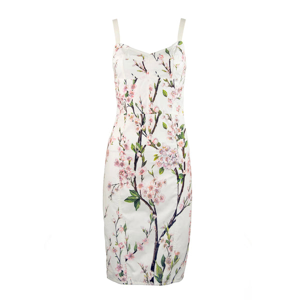 Vintage Dolce & Gabbana White Floral Cotton Sheath Dress