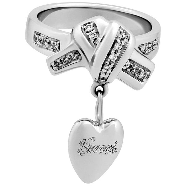 VINTAGE GUCCI 18k WHITE GOLD HEART CHARM RING with DIAMONDS