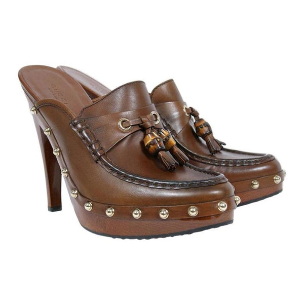 VINTAGE GUCCI BROWN LEATHER CLOG PLATFORM SHOES w/ BAMBOO and TASSEL DETAIL 6.5