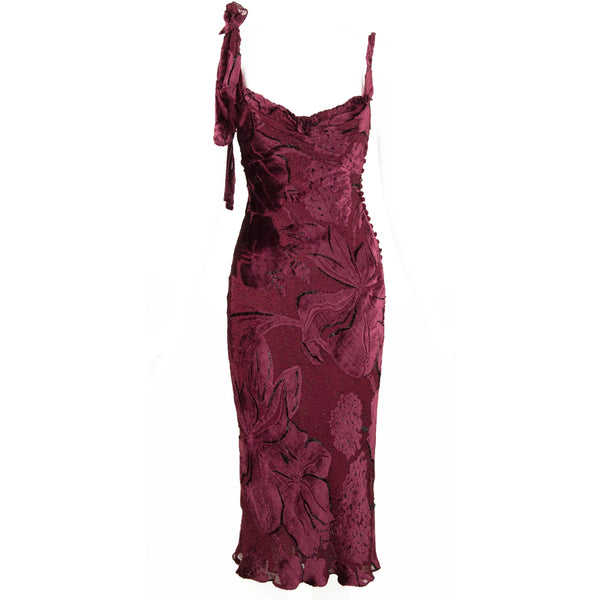 Vintage John Galliano Burnt Out Velvet Bias Cut Dress