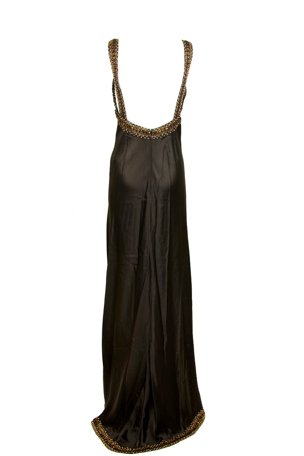 Valentino Brown Embellished Silk Gown