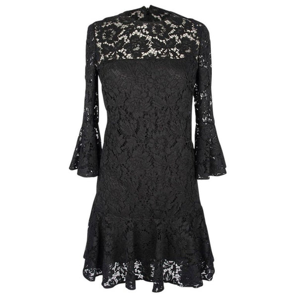 Valentino Dress Black Lace Ruffled Three Quarter (3/4) Sleeve and Hemline 4
