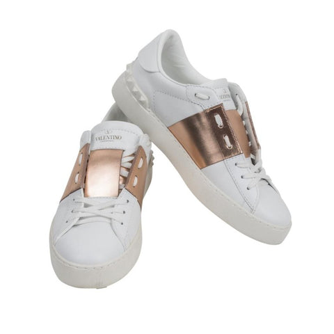 Valentino Open Sneaker White Leather Rose Gold and Rock Stud 39 / 9