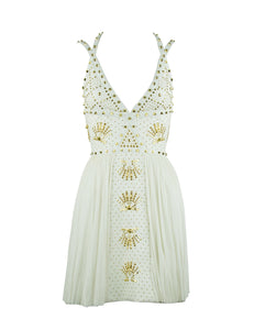 Gianni Versace White Dress with Gold Studs and Leather Trim