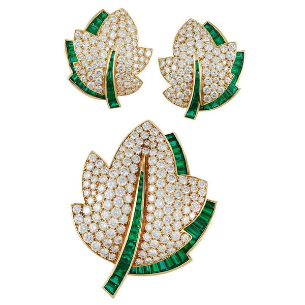 Van Cleef & Arpels Emerald Diamond Gold Leaf Brooch Set