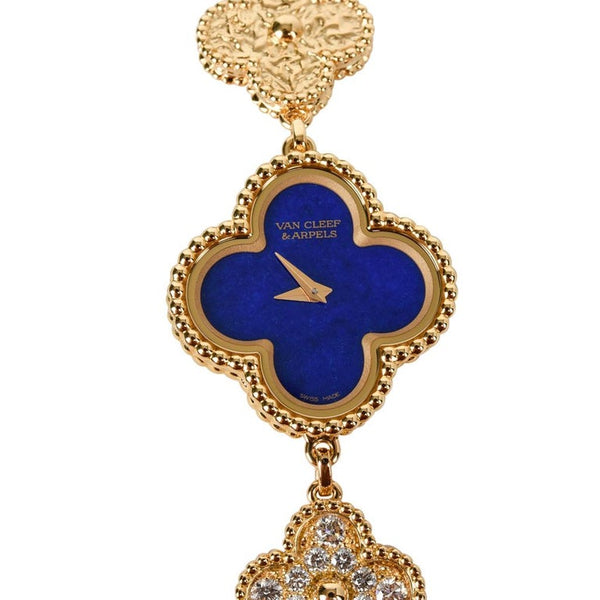 Van Cleef & Arpels Lapis Lazuli and Diamond Alhambra Watch 18k Gold Limited