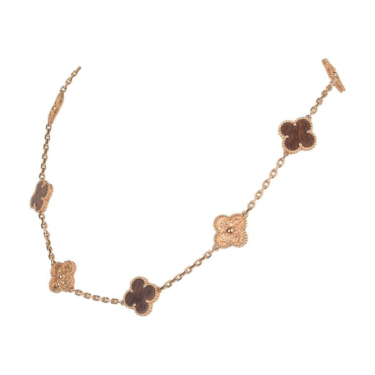 Van Cleef & Arpels Necklace Alhambra Collection 18k Rose Gold Bois D'Amourette