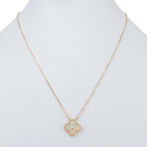 Van Cleef & Arpels Necklace Holiday Gold Mother of Pearl Alhambra Diamond