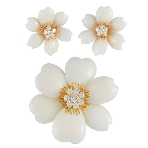 Van Cleef & Arpels White Coral French Rose de Noel Set