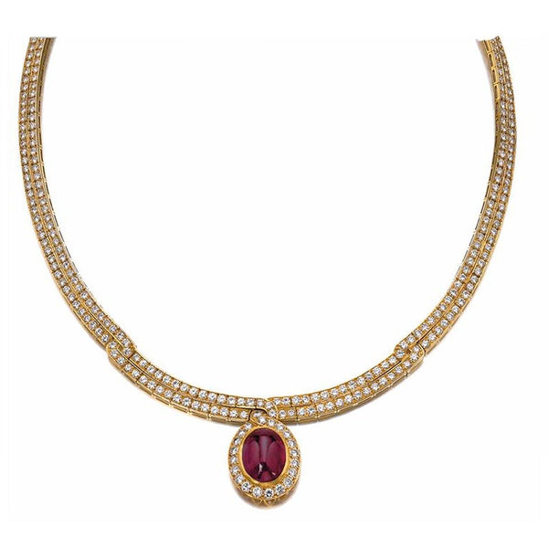 Van Cleef Ruby Diamond Gold Necklace