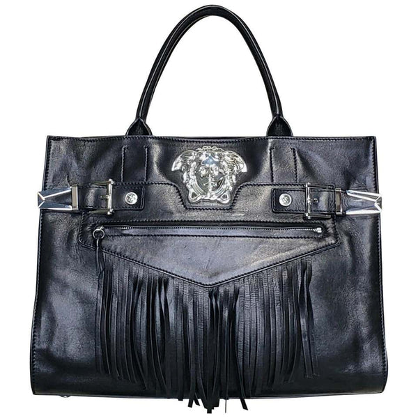 Versace PALAZZO BLACK LEATHER SILVER MEDUSA TOTE BAG