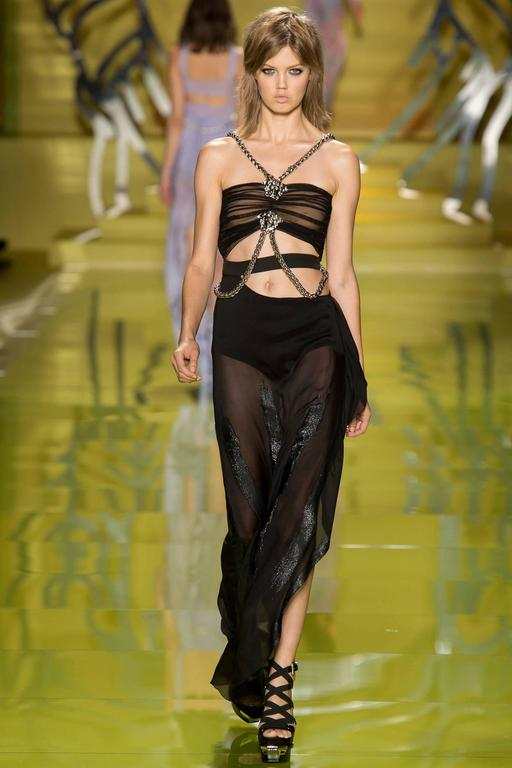 S/S 2014 look # 47 NEW VERSACE BLACK CHIFFON MEDUSA CHAIN FINALEE GOWN