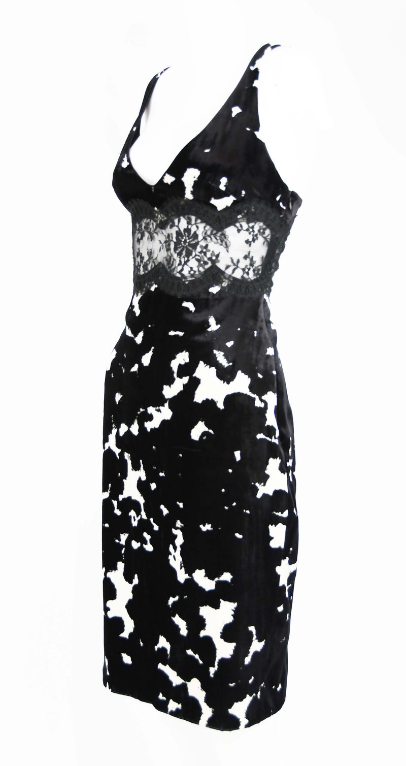 Versace Black & White Velvet Dress