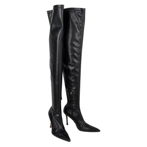 Versace Boot Thigh High Black Very Soft Leather Boots 39 /9