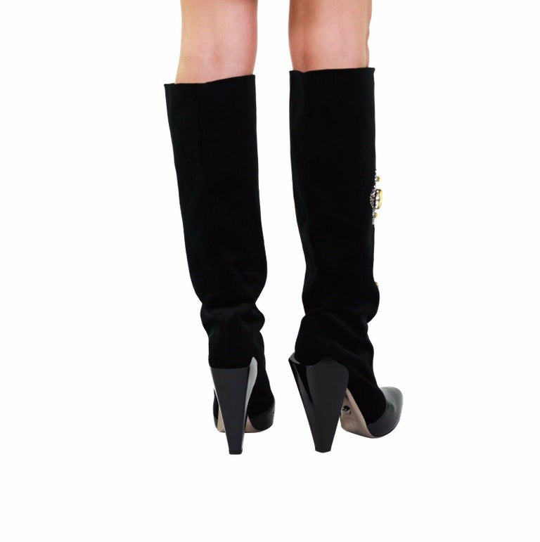 Versace Crystal-embellished Cross Velvet and Leather Knee Boots