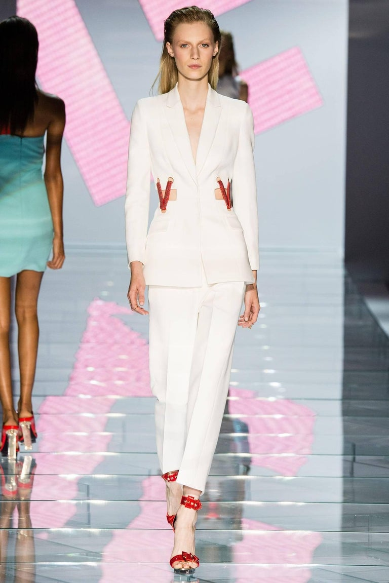 Versace Crystal Embellished White Silk Pant Suit Look #36, S/S 2015