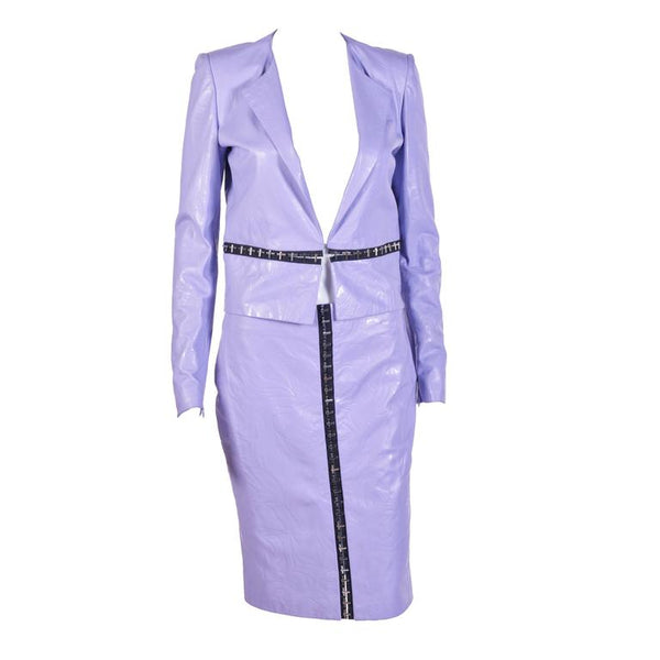 Versace Floral Embossed Lilac Leather Jacket and Skirt