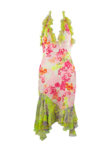 Versace Pink & Green Floral Print Chiffon Dress