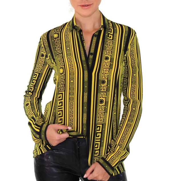 Versace Greek Key Printed 100% Silk Button Up Shirt