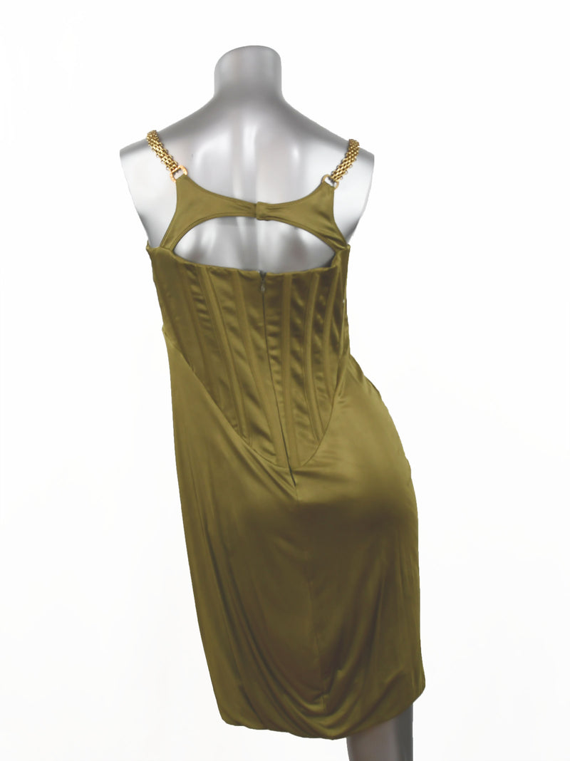 Versace Chain Embellished Olive Corset Cocktail Dress