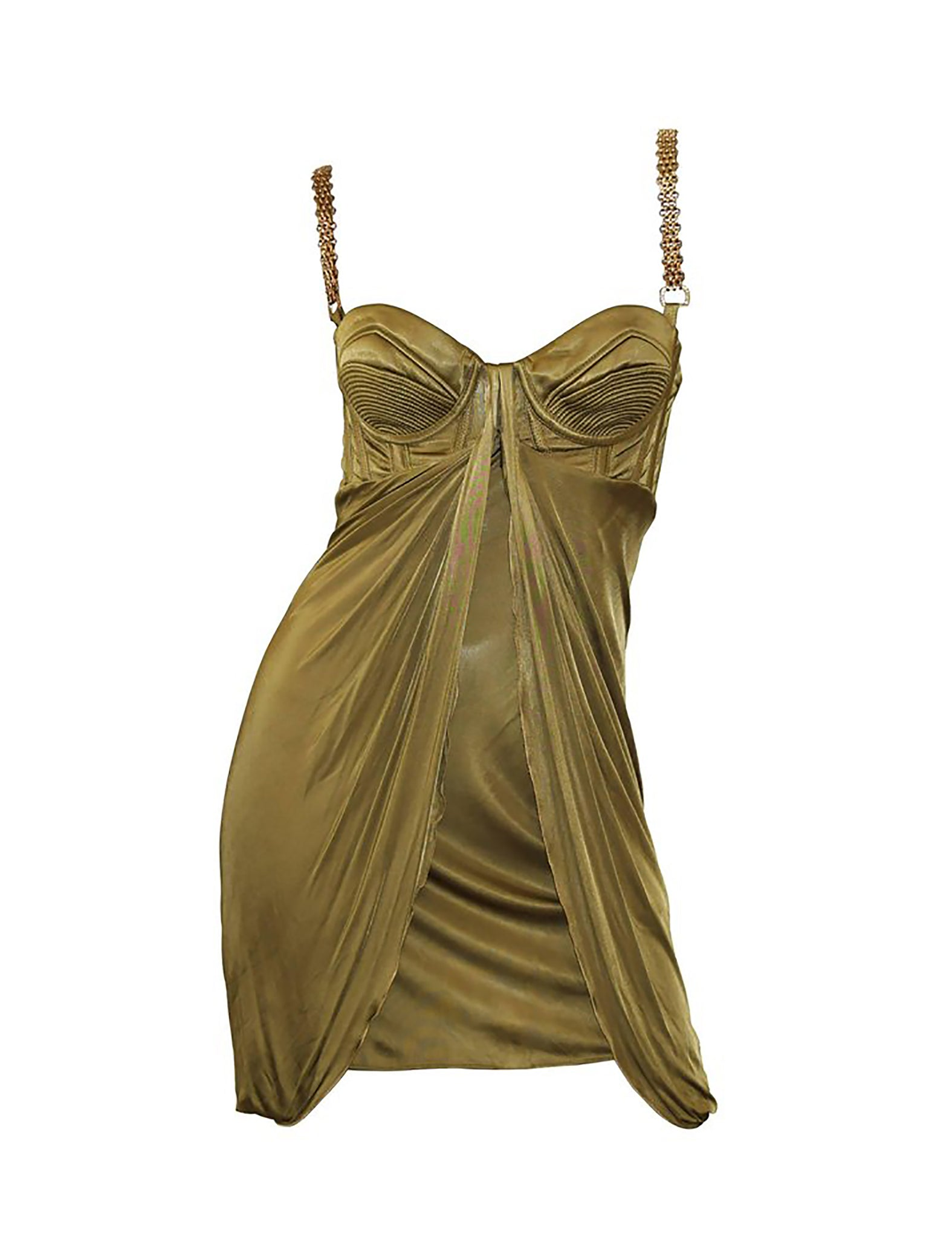 Versace Chain Embellished Olive Corset Cocktail Dress - Sizes 40 & 44