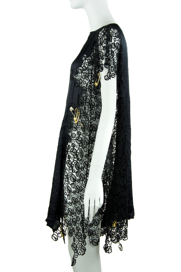 Vintage Gianni Versace Black Silk & Lace Dress with Medusa Close Pins
