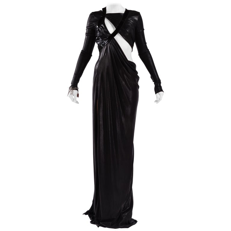 F / W 2013 Versace Look #51 Cut Out Black Liquid Jersey Gown