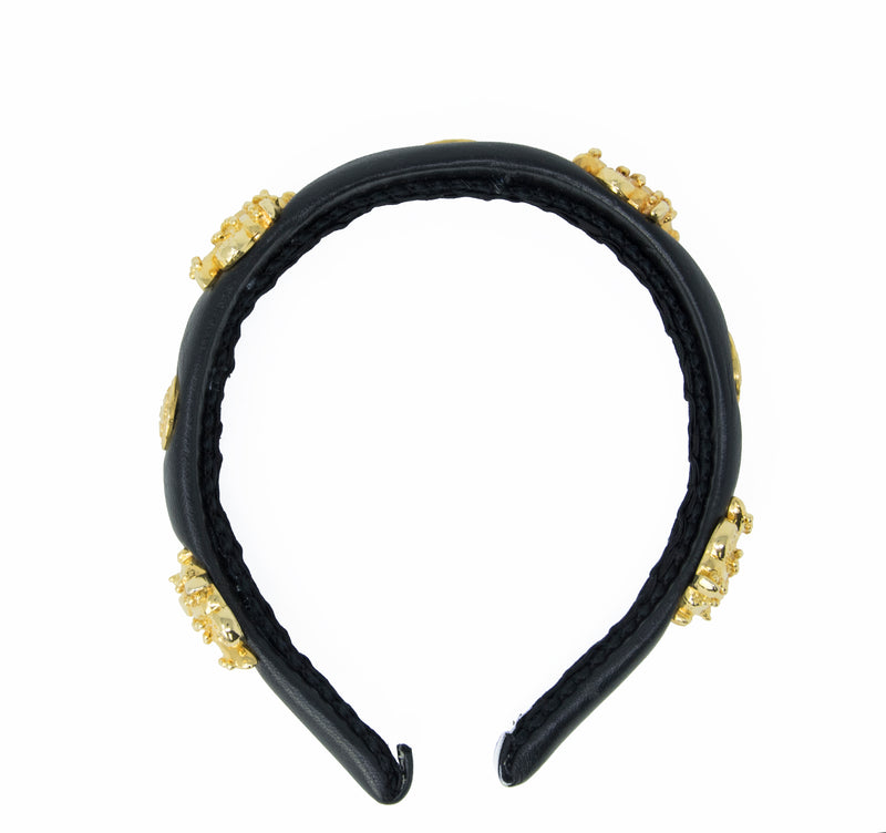 Versace Black Leather Headband with Medusa & Fish Medallions