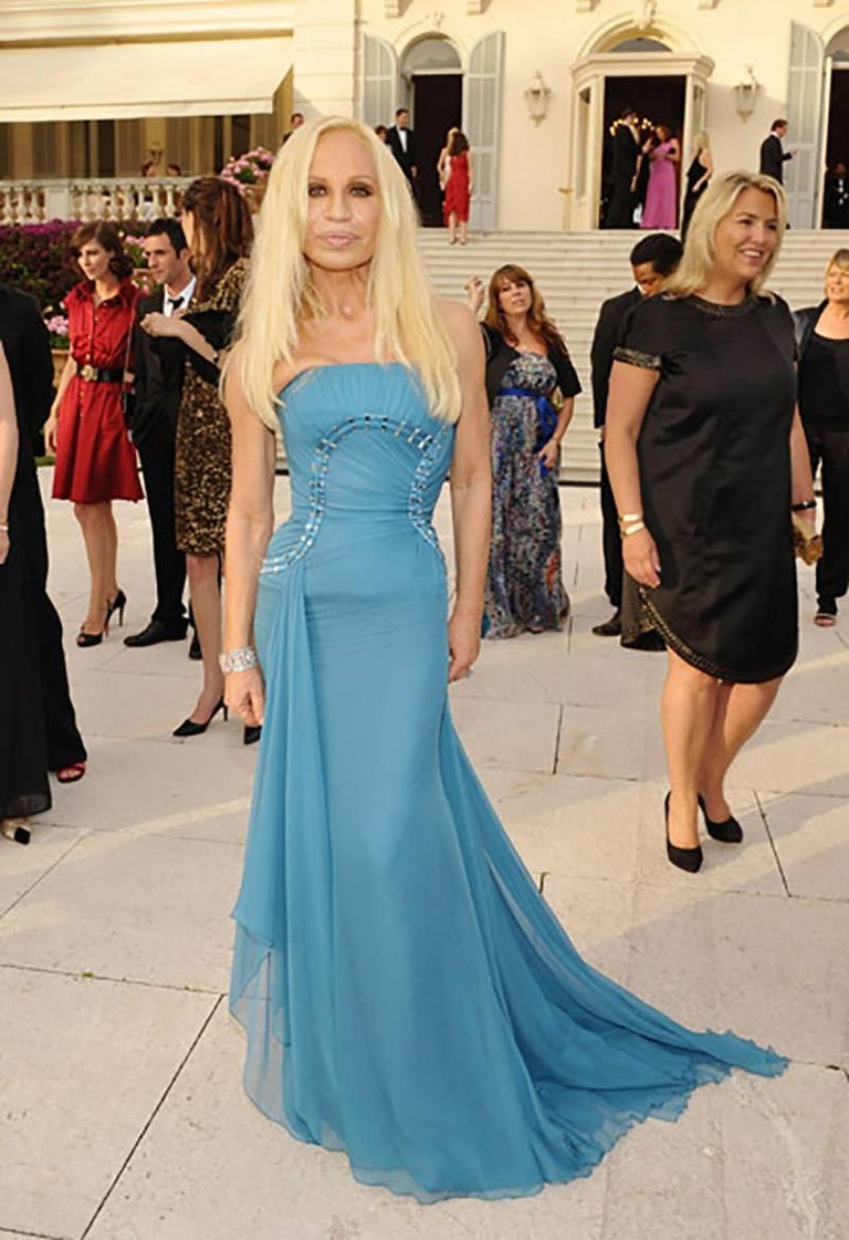 Versace One Shoulder Blue Silk Gown as Seen on Donatella
