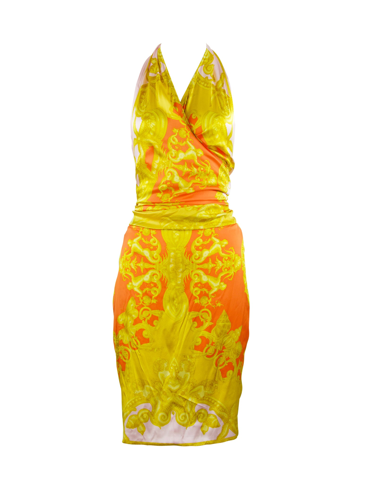 Versace Pink, Orange and Gold Silk Halter Dress - Size IT 42