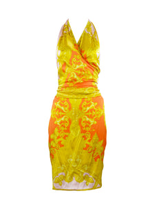 Versace Pink, Orange and Gold Silk Halter Dress