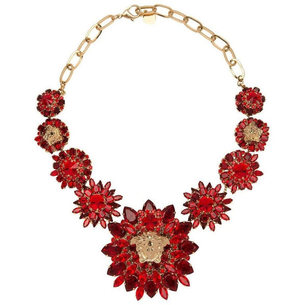 Versace Red Blooming Medusa Crystal Necklace