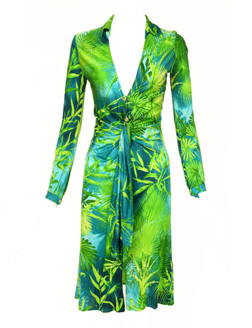 Iconic Gianni Versace Couture Tropical Print Dress - Size IT 40