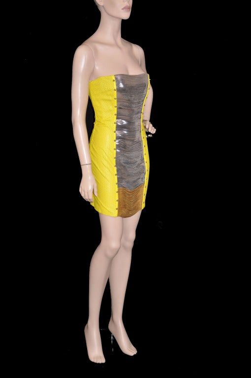 Versace Yellow Leather Metal Panel Dress