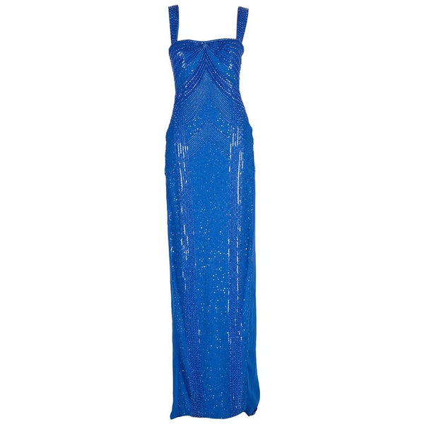 New Versace fully beaded embellished blue gown
