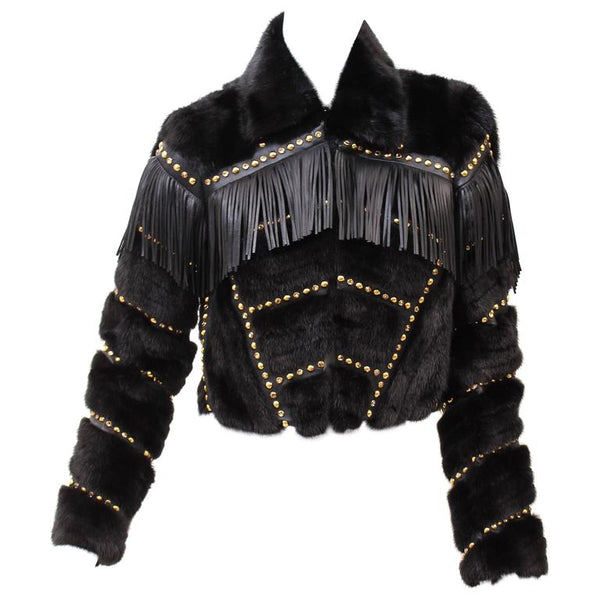 Versace Fur Cropped Jacket with Studs and Leather Fringe