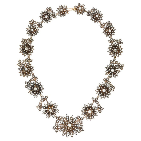 Victorian Floral Diamond Gold Silver Necklace