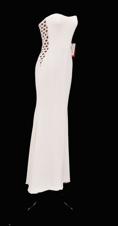 Vintage Gianni Versace Couture Beaded Silk and Tulle White Gown