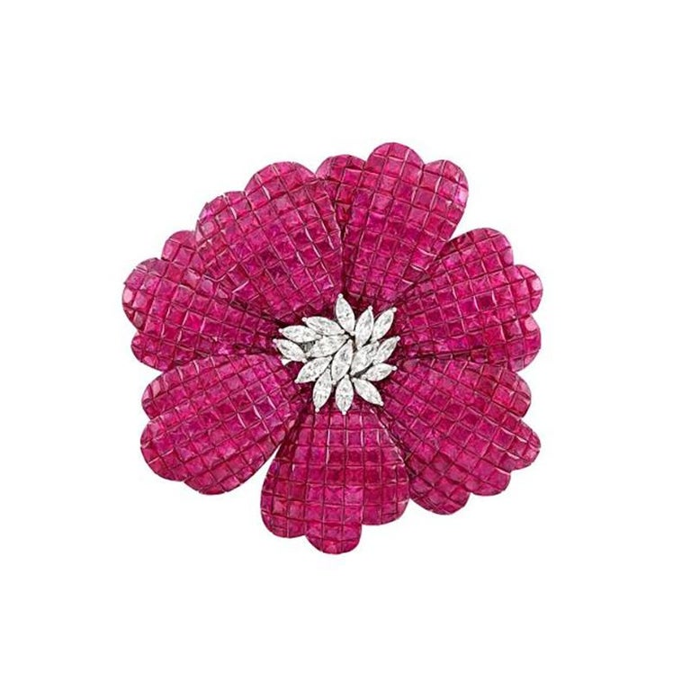 White Gold, Invisibly-Set Ruby and Diamond Flower Brooch