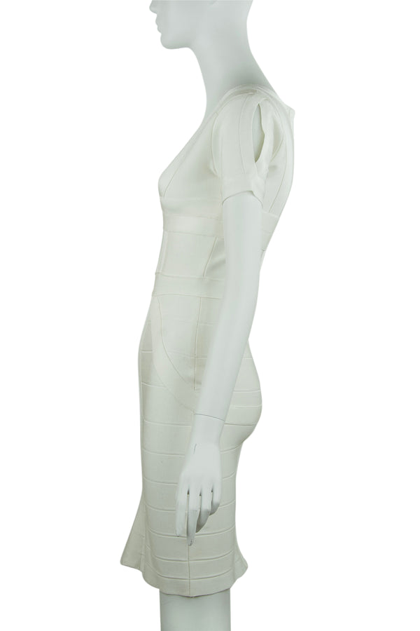 Herve Leger White Short Sleeve Bandage Dress