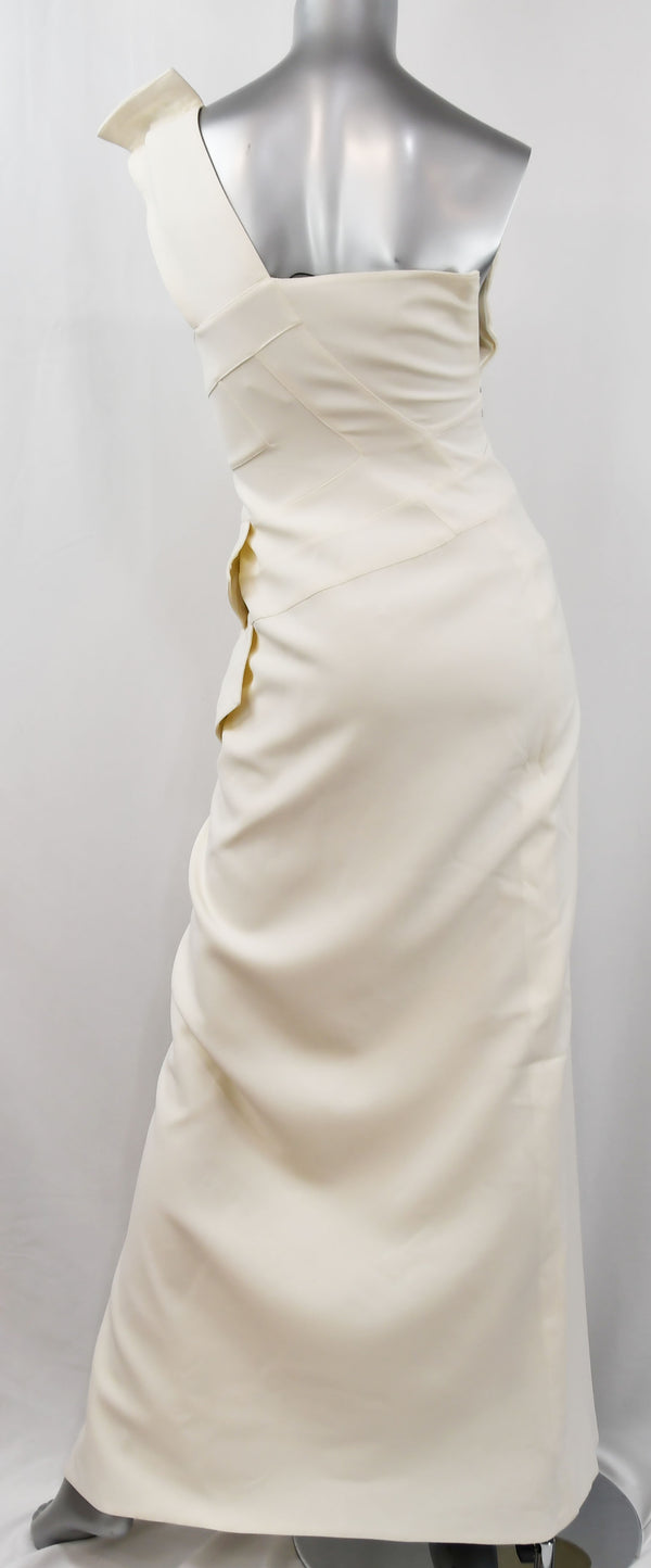 Versace White Column Gown with Medusa Button Trim and Deep Slit