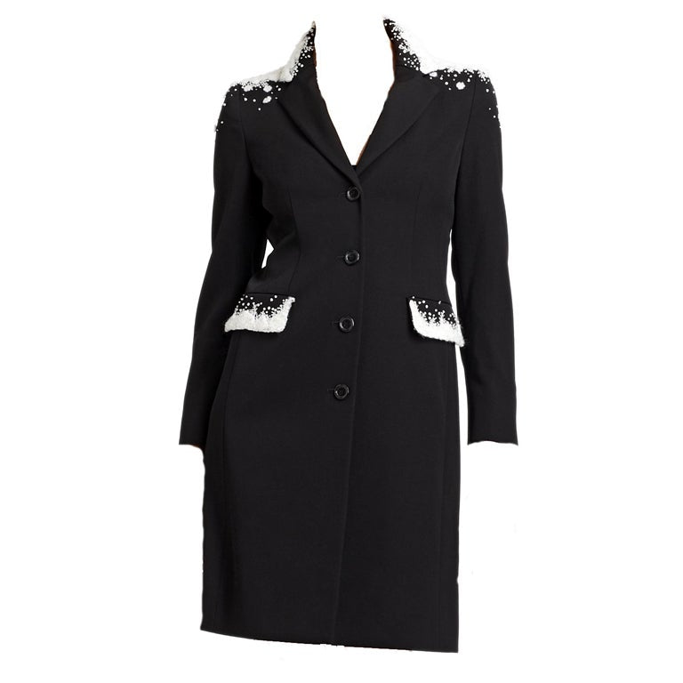 Moschino Snow-Capped Embellished Wool Coat in Black