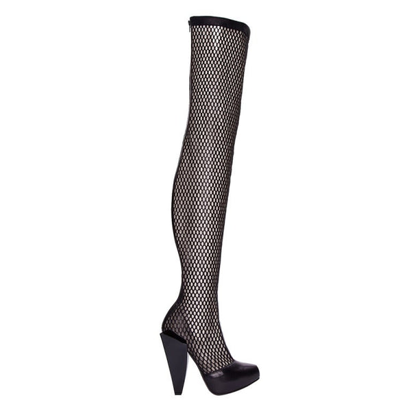 New VERSACE THIGH HIGH BLACK LEATHER MESH BOOTS