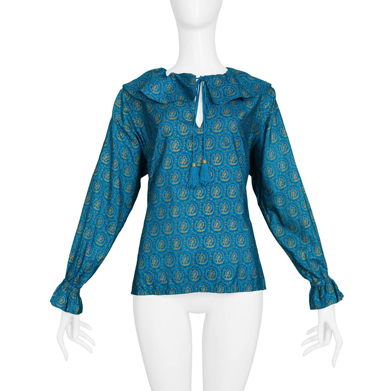 YSL TEAL & GOLD TASSLE BLOUSE