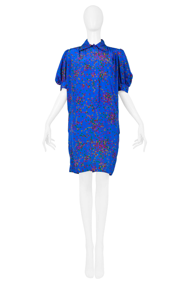 YSL BLUE WITH MULTICOLORED DOT DAY DRESS