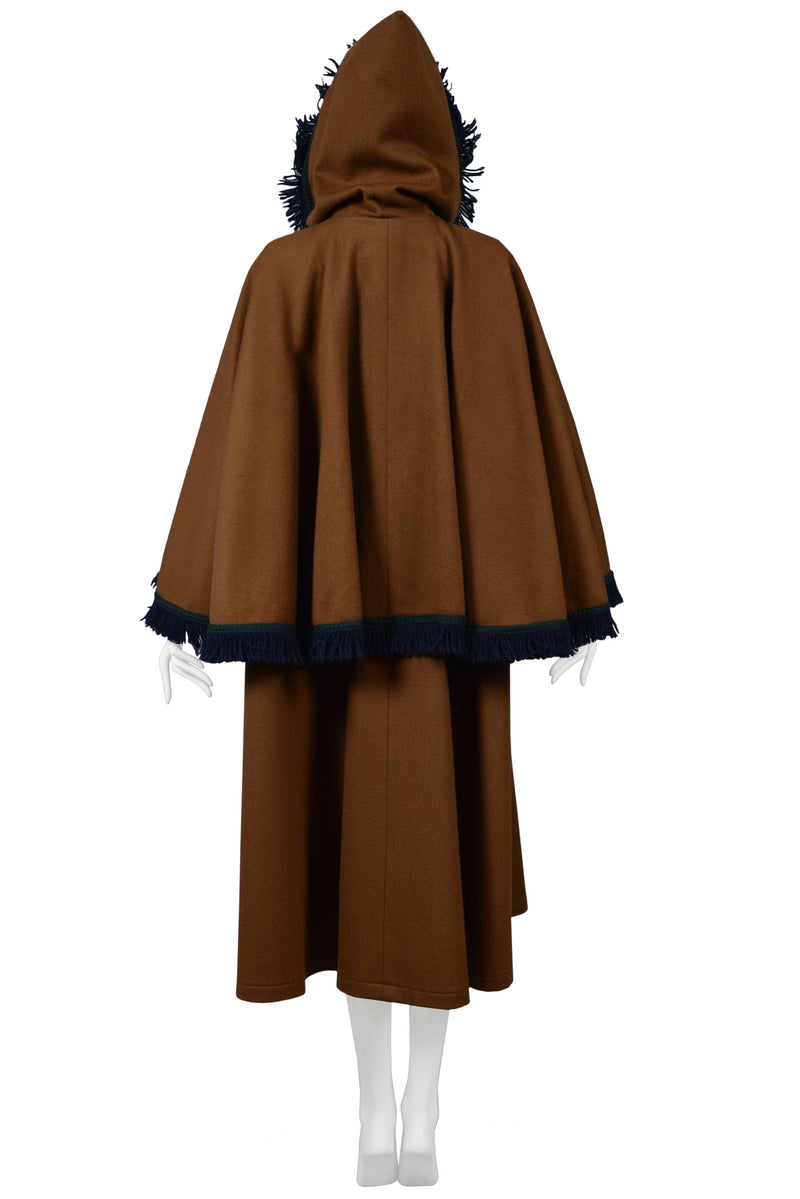 YSL BROWN WOOL CAPE COAT WITH LARGE HOOD