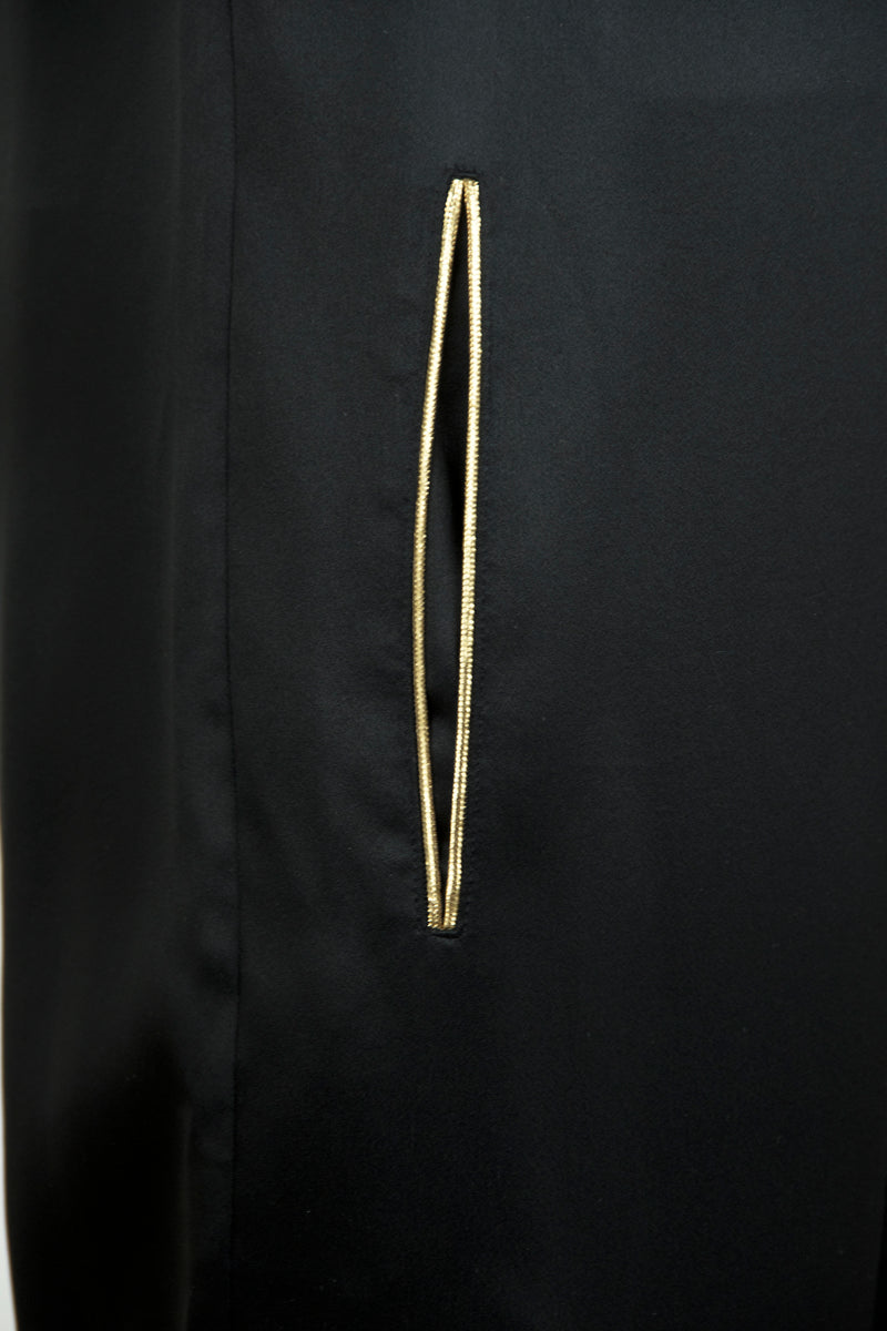 Vintage Yves Saint Laurent Black Silk Jumpsuit with Gold Detail