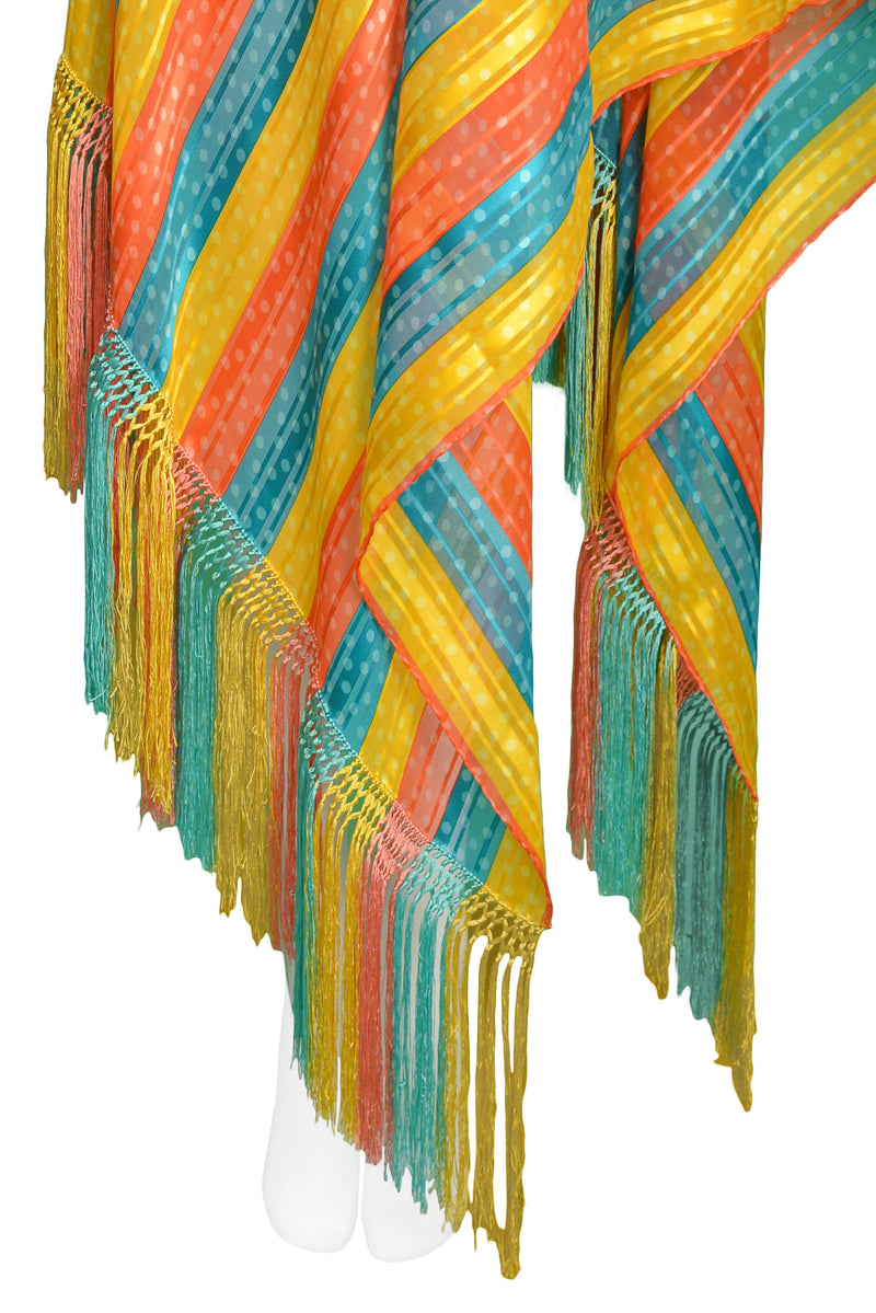 YSL MULTICOLOR STRIPE SCARF WITH FRINGE