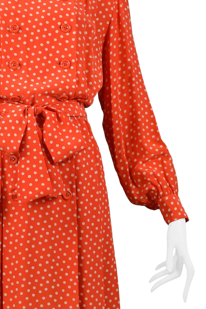YSL RED & WHITE POLKA DOT SILK DAY DRESS
